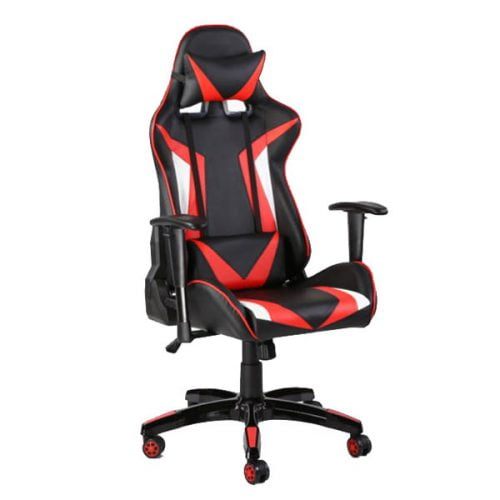 Gaming Chair Ergonomic Chairs Leather with Neckrest and Lumbar Cushion