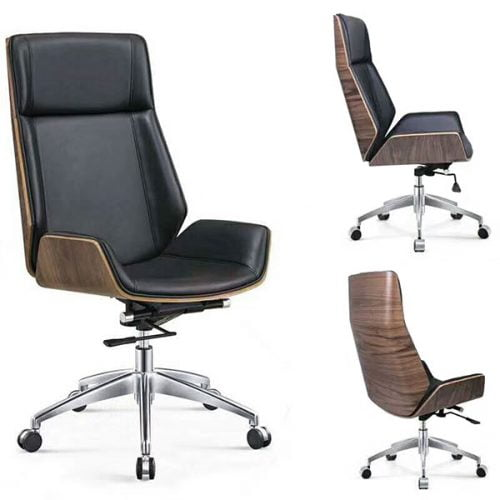 Modern Bentwood Swivel Computer Leather Office Chair