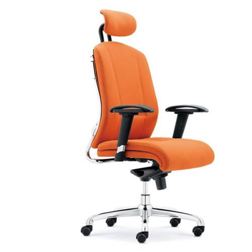 Modern Office Chair Orange PU Leather Office Chair