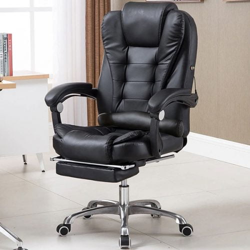 Adjustable Executive Reclining Sleeping Leather Office Chair With Footrest