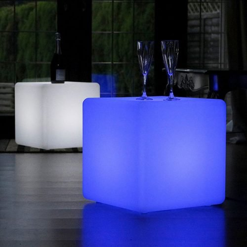 Multiple Color Outdoor Led Cube Chair Bar Stools With Remote Control