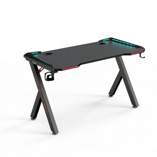 Z Shaped RGB LED Computer Pc Gaming Desk Table
